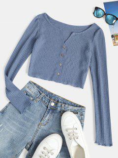 ZAFUL Camiseta Corta Acanalada Con Cuello En V - Azul Xl