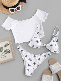 ZAFUL Butterfly Print Ribbed Knot Three Piece Bikini Swimsuit - White M