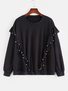 Plus Size Beading Ruffles Sweatshirt - Black L