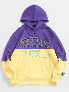 Letter Embroidered Contrast Applique Fleece Hoodie - Yellow L
