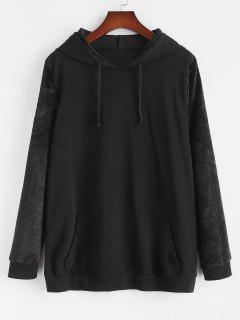 Plus Size Front Pocket Fluffy Sleeves Hoodie - Black 3xl