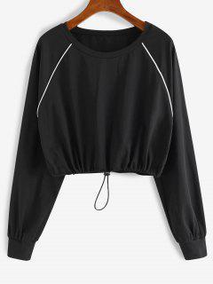 ZAFUL Contrast Trim Raglan Sleeve Drawstring Cropped Tee - Black M