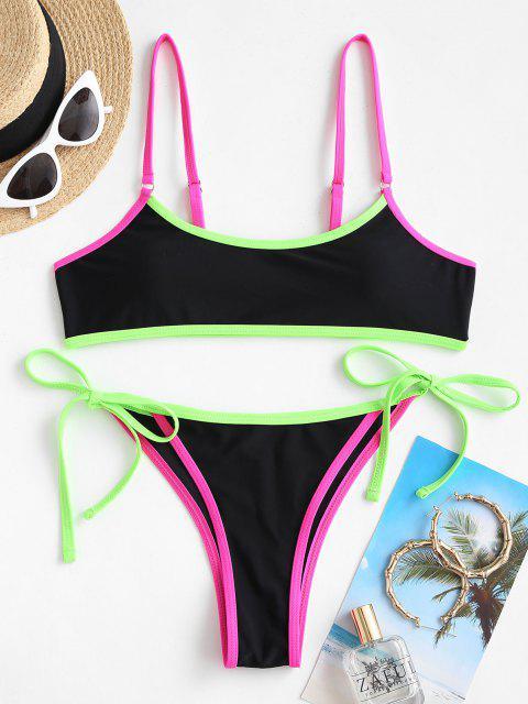 Jessica Stockstill X ZAFUL Kontrast Bindung Krawatte Side Tanga Bikini-Badebekleidung - Schwarz S Mobile