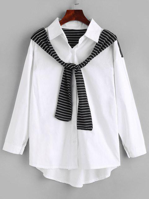trendy Button Up Inset Striped Scarf Shirt - WHITE S Mobile