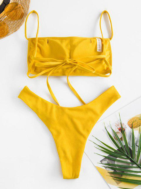 outfits Jessica Stockstill X ZAFUL Textured Criss Cross Brazilian Bikini Swimwear - DEEP YELLOW M Mobile