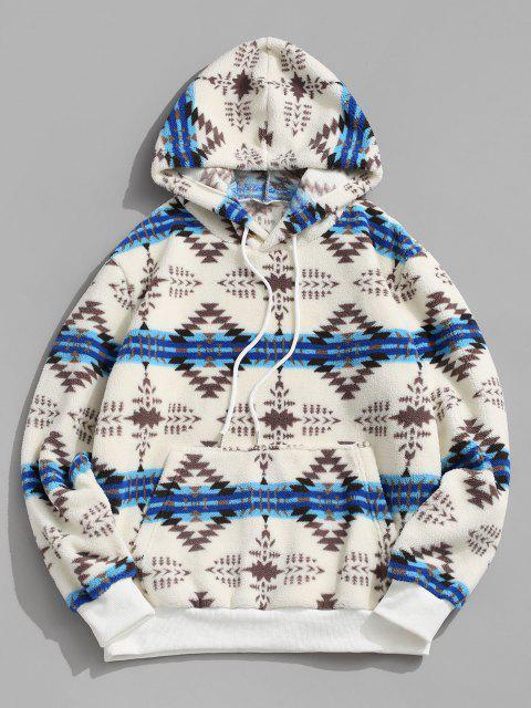 sale ZAFUL Tribal Pattern Kangaroo Pocket Fluffy Hoodie - WHITE S Mobile