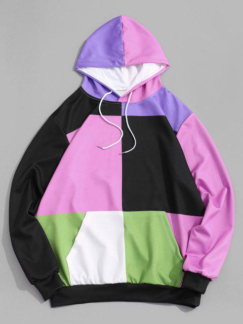 women's Colorblock Front Pocket Lounge Hoodie - PINK 2XL Mobile