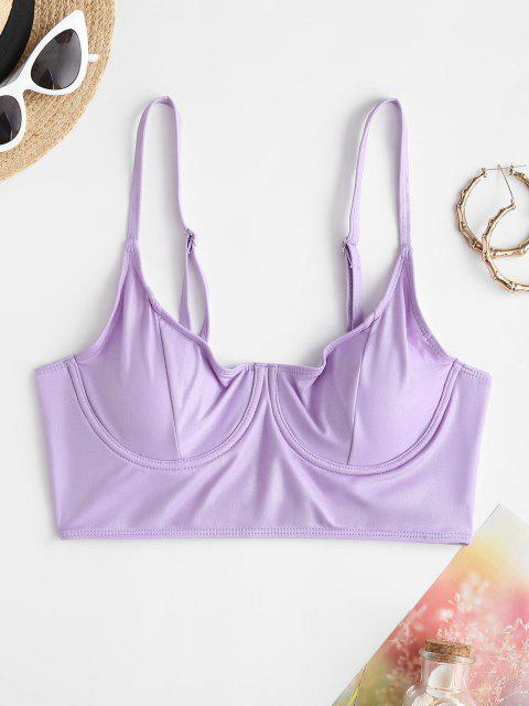 ZAFUL Coated Glitter Disco Underwire Bustier Bikini Top - أرجواني S Mobile