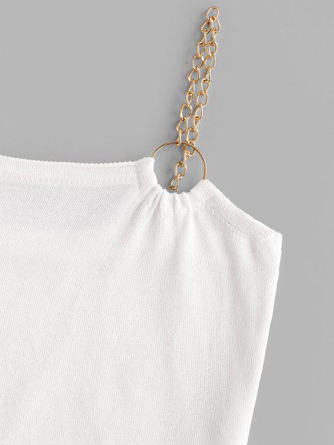 Haut Tricoté à Bretelle Bague en O avec Chaîne en O - Blanc Taille Unique Mobile