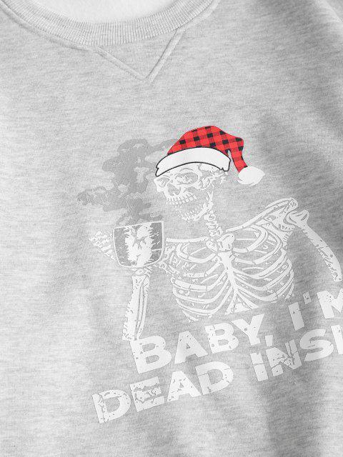 hot Fleece Lined Skeleton In Christmas Hat Oversized Sweatshirt - GRAY S Mobile