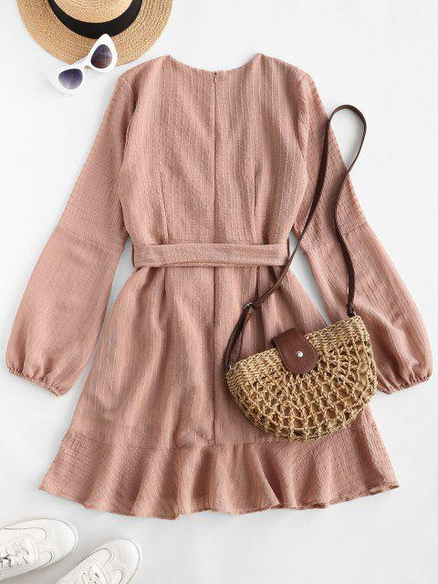 lady Ruffled Long Sleeve Belted Surplice Dress - LIGHT PINK M Mobile