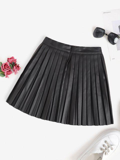 affordable Pleated Faux Leather A Line Skirt - BLACK L Mobile