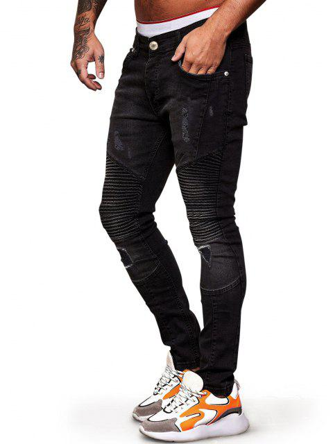 womens Pleated Patchwork Scratch Ripped Jeans - BLACK 36 Mobile