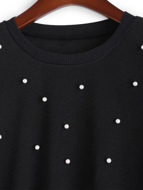 Sweat-shirt Perlé de Grande Taille à Col Rond - Noir 2XL Mobile