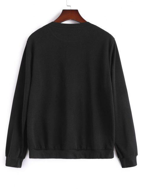 Sweat-shirt Perlé de Grande Taille à Col Rond - Noir 4XL Mobile