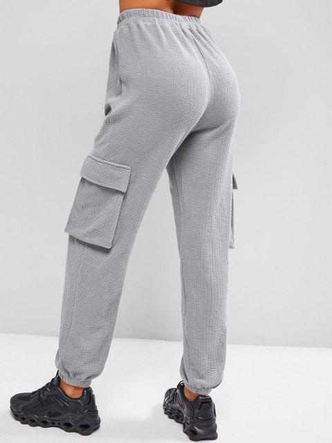 buy ZAFUL Knitted Pocket High Waisted Pants - GRAY M Mobile