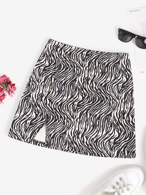fancy Zebra Animal Print Slit Mini Skirt - BLACK L Mobile