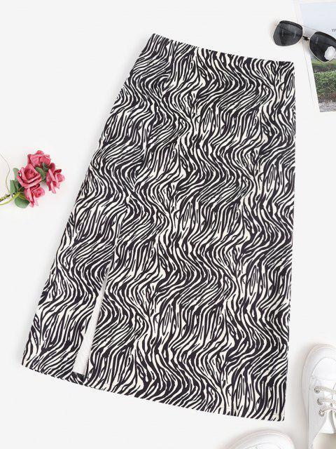 Zebra Animal Pattern Slit Midi Skirt - أسود S Mobile