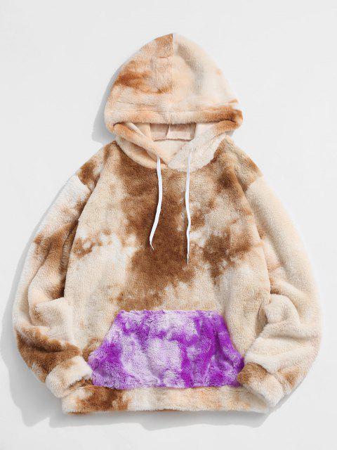 unique Contrast Tie Dye Pattern Faux Fur Fluffy Hoodie - LIGHT COFFEE XL Mobile