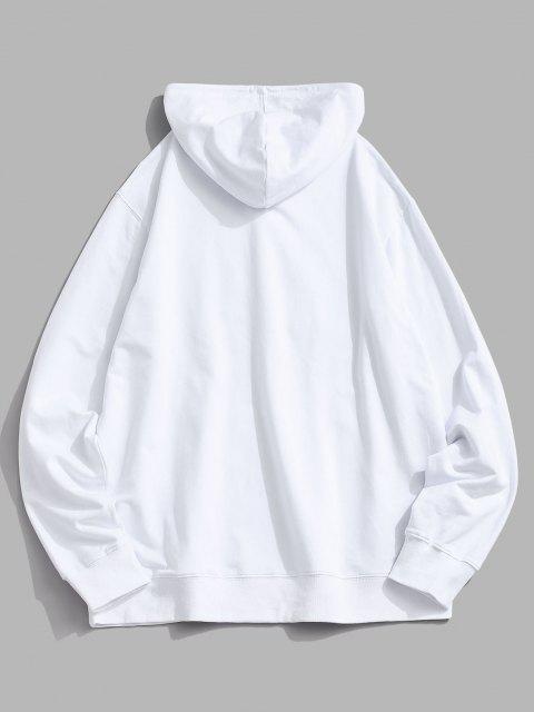 Sweat à Capuche Chapeau de Noël Imprimé avec Poche Kangourou - Blanc M Mobile