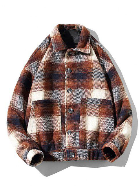 best Double Pockets Plaid Patterned Wool Blend Jacket - COFFEE S Mobile