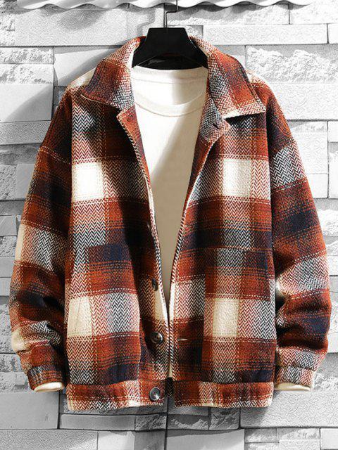 shop Double Pockets Plaid Patterned Wool Blend Jacket - COFFEE 2XL Mobile