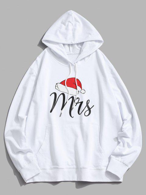 women's Christmas Hat Print Kangaroo Pocket Hoodie - WHITE L Mobile