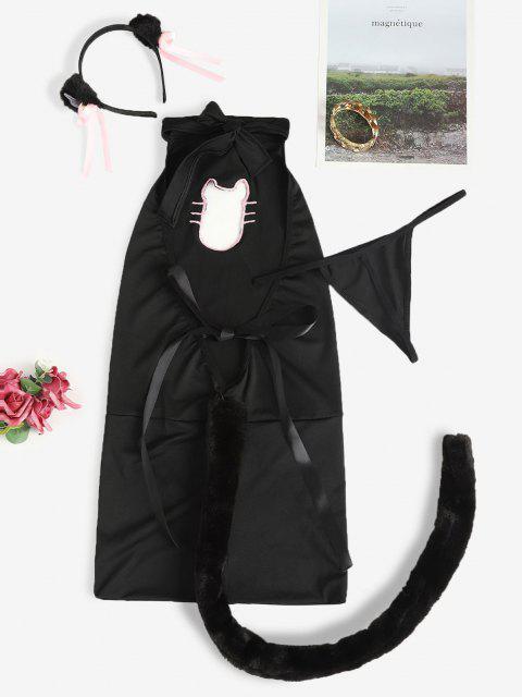 Disfraz de Gato con Adorno de Campana - Negro Talla única Mobile