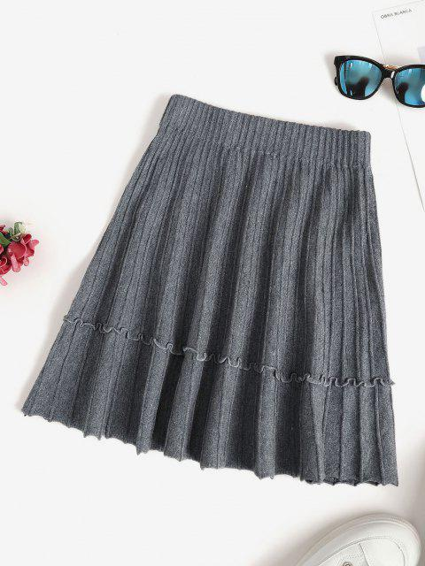 women's Knit Pintuck Frilled A Line Skirt - LIGHT SLATE GRAY ONE SIZE Mobile