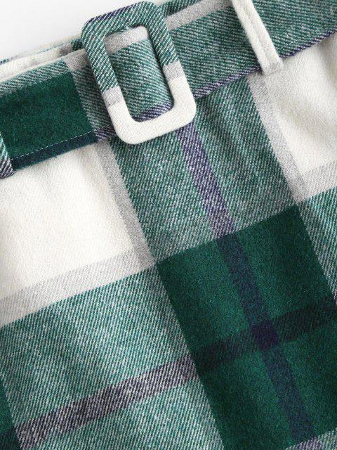 lady Belted Flannel Plaid Mini Skirt - GREEN L Mobile