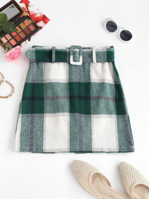 best Belted Flannel Plaid Mini Skirt - GREEN M Mobile