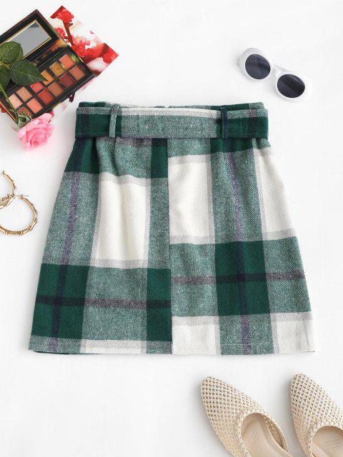outfit Belted Flannel Plaid Mini Skirt - GREEN S Mobile