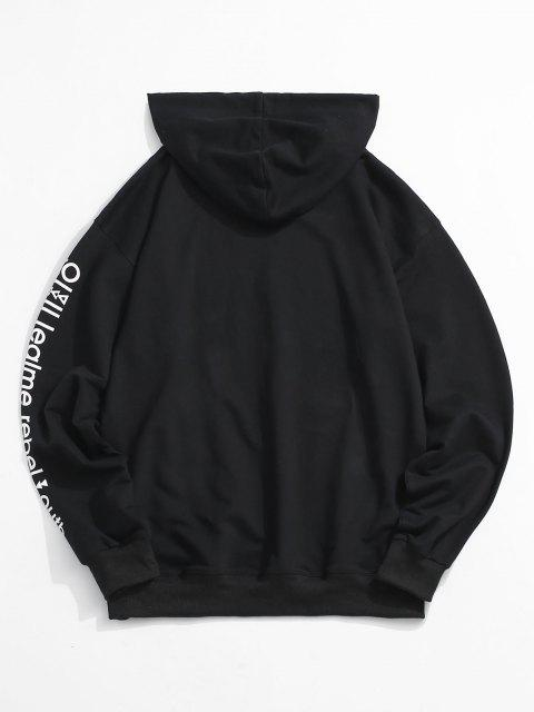 unique Love is A Drug And Rose Pattern Hoodie - BLACK S Mobile