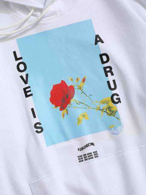 new Love is A Drug And Rose Pattern Hoodie - WHITE S Mobile