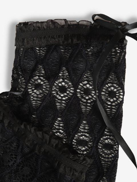 Bowknot Einteilige Finger Handschuhe mit Schnürung - Schwarz Eine Größe Mobile