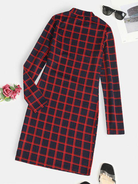 trendy ZAFUL Plaid Long Sleeve Slinky Dress - RED M Mobile