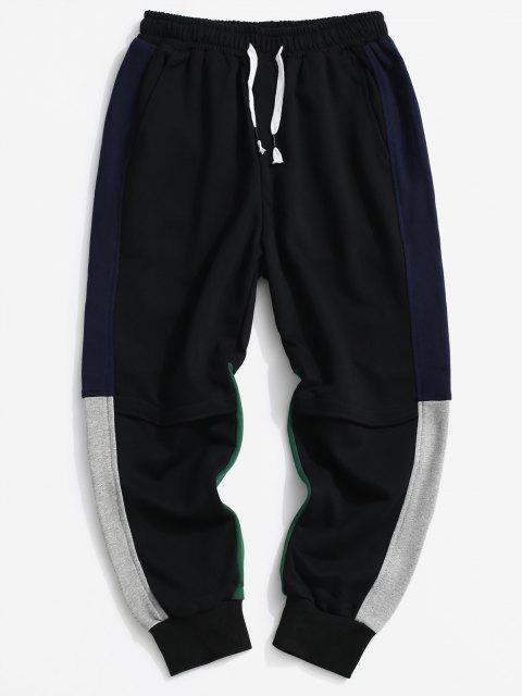 Jogger Pantalones de Multi-bolsillo con Color Bloque - Negro L Mobile