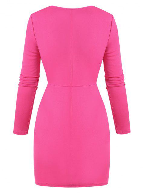 women Plunge Cinched Ruched Bodycon Dress - LIGHT PINK M Mobile