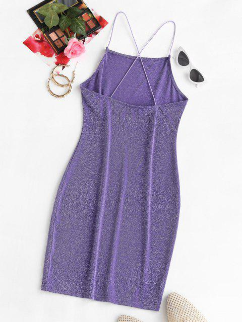 buy Shiny Sparkle Crisscross Party Mini Dress - PURPLE L Mobile