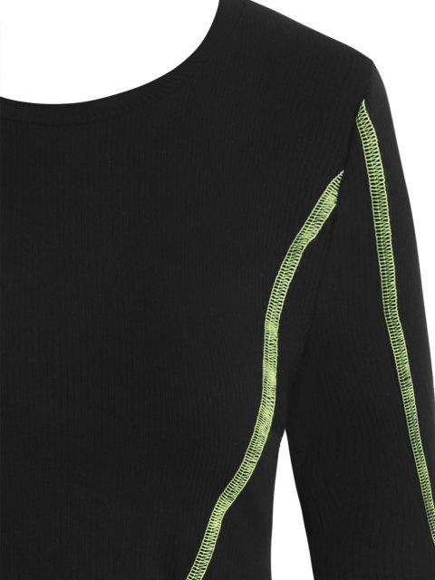 shops ZAFUL Rib-knit Neon Topstitching Asymmetrical Crop Top - BLACK M Mobile
