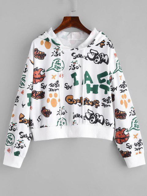new Letter Cartoon Fruit Drop Shoulder Hoodie - WHITE M Mobile