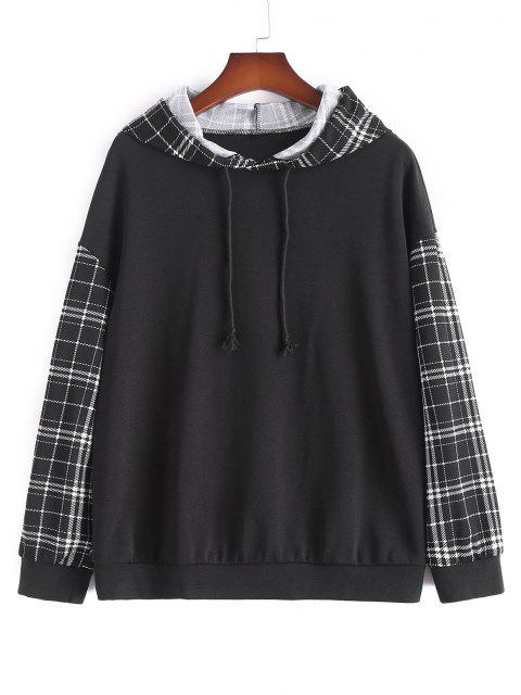 latest Plus Size Plaid Sleeve Hoodie - BLACK 1XL Mobile