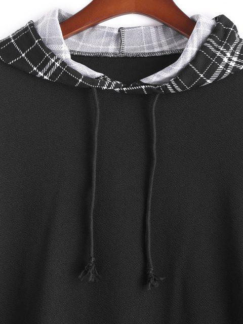 fashion Plus Size Plaid Sleeve Hoodie - BLACK 3XL Mobile