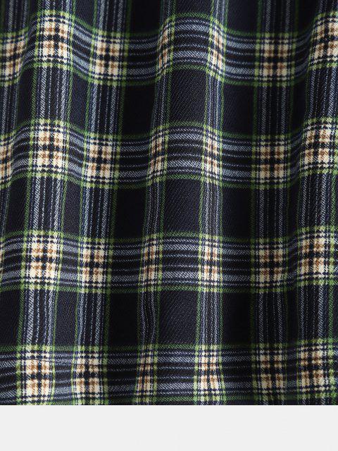 fashion ZAFUL Back Zipper Plaid A Line Skirt - DEEP GREEN S Mobile