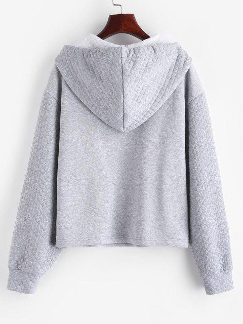 ZAFUL Half Zipper Drop Shoulder Quilt Hoodie - رمادي فاتح M Mobile