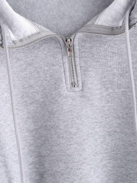 latest ZAFUL Half Zipper Drop Shoulder Quilt Hoodie - LIGHT GRAY M Mobile