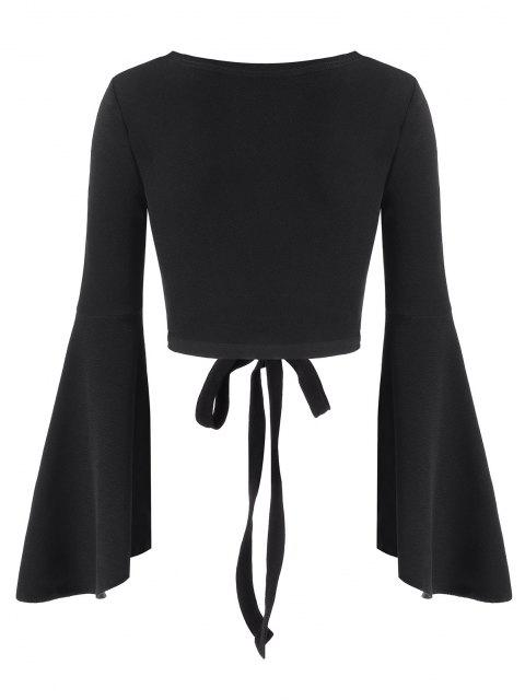 affordable ZAFUL Tie Waist Cropped Surplice Top - BLACK XL Mobile