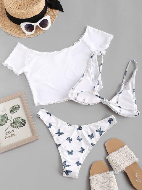 outfit ZAFUL Butterfly Print Ribbed Knot Three Piece Bikini Swimsuit - WHITE M Mobile