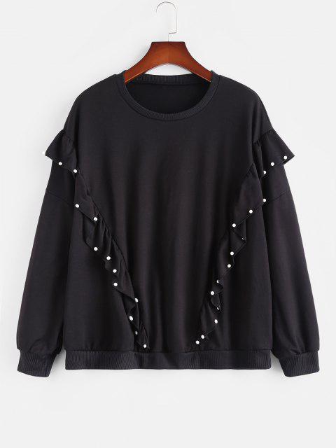 hot Plus Size Beading Ruffles Sweatshirt - BLACK L Mobile