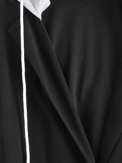 Übergröße Abnehmbare Kapuze Langline Blazer - Schwarz L Mobile